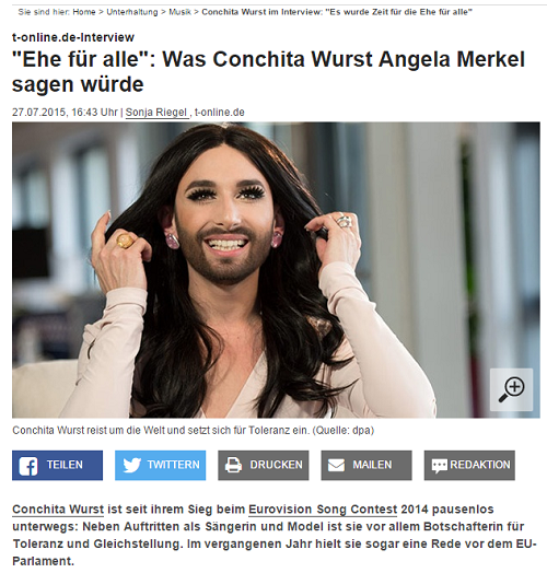 Conchita Wurst, Interview, t-online.de