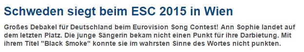 Blog zum ESC-Finale